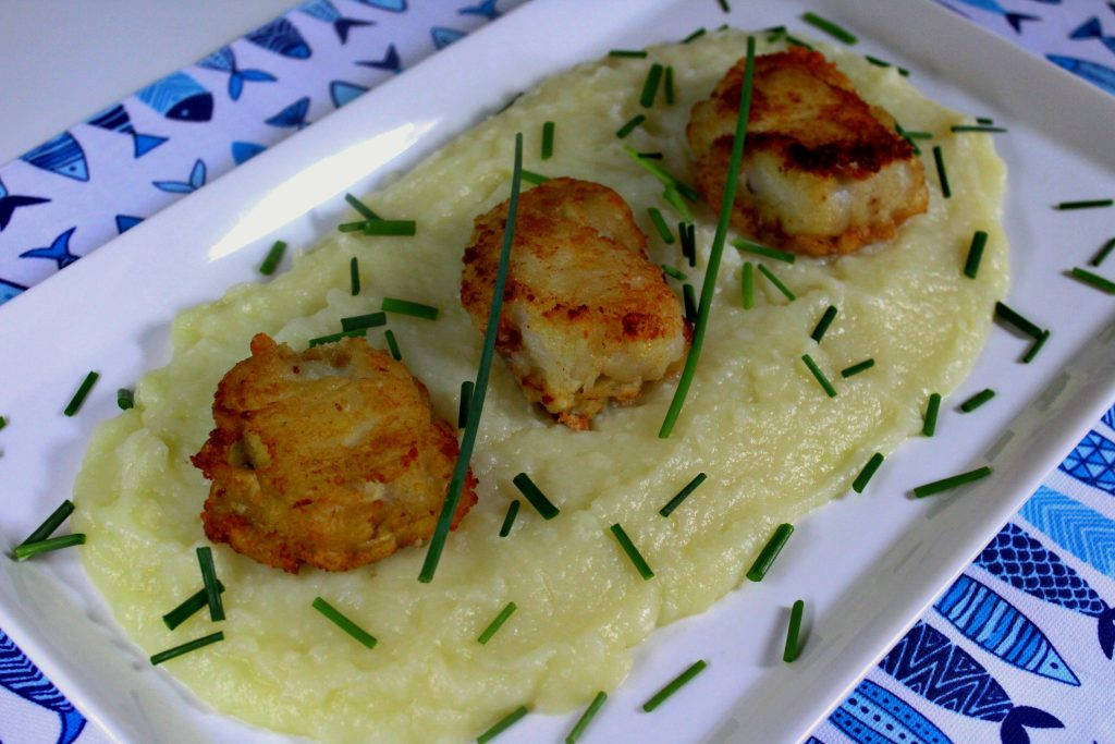 SALTED COD FISH FRITTERS WITH GARLIC POTATO PUREE
