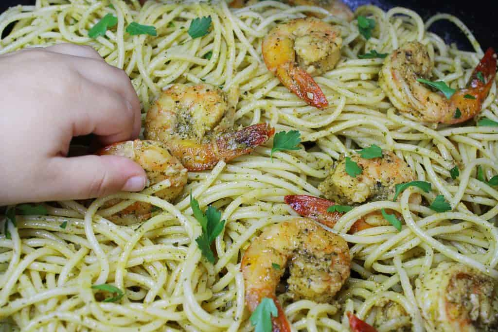 mediterranean shrimp with spices and herbs pasta