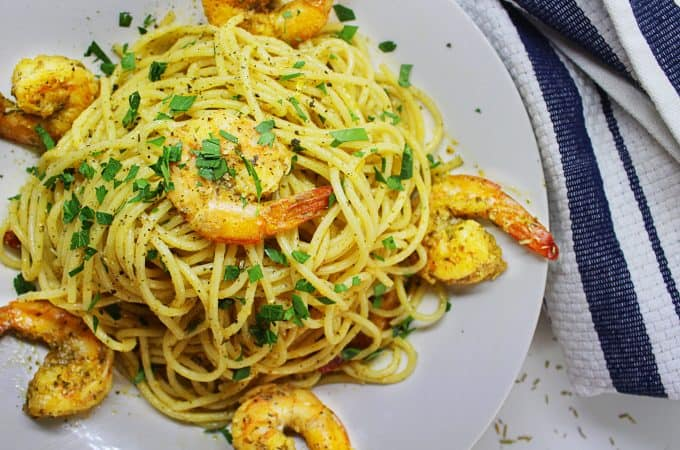 MEDITERRANEAN SHRIMP WITH HERB INFUSED OLIVE OIL