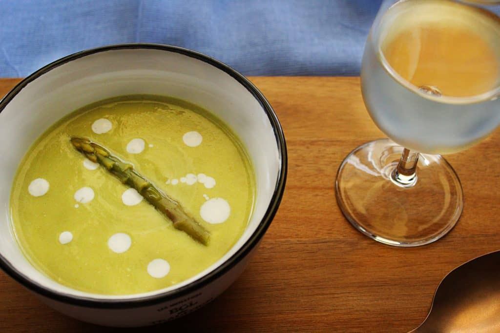 Mediterranean Asparagus Soup with Greek yogurt and olive oil