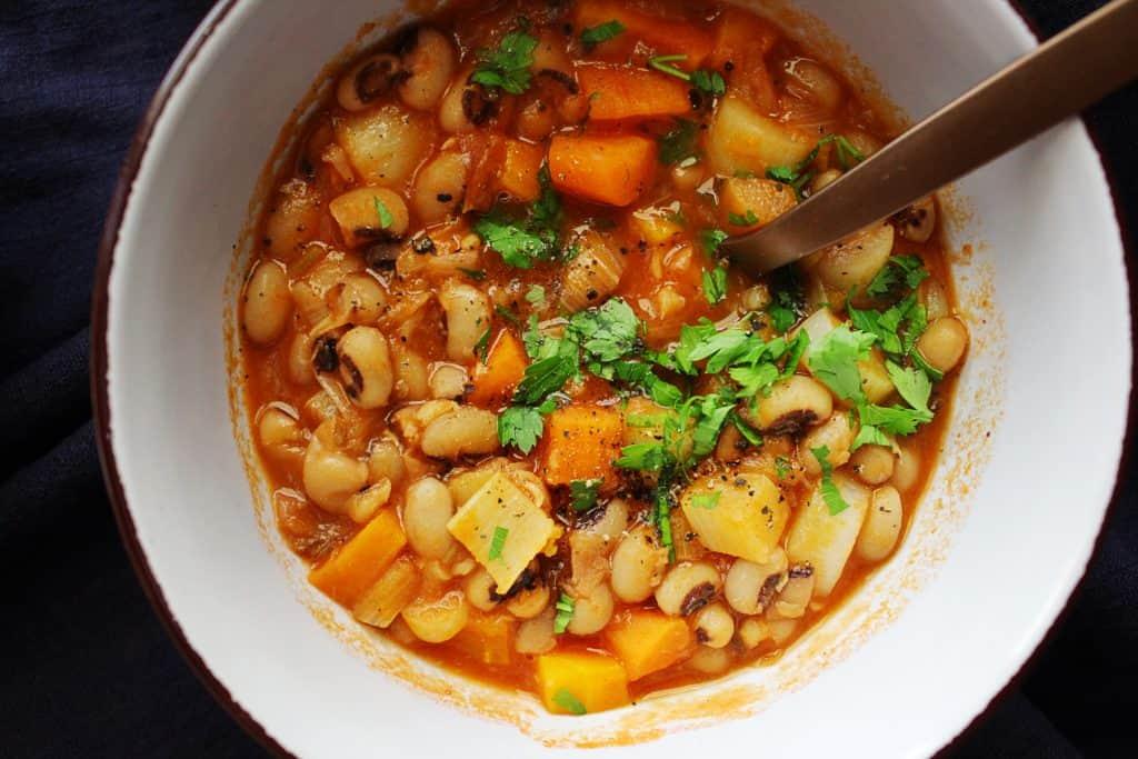 Mediterranean black eyed peas stew