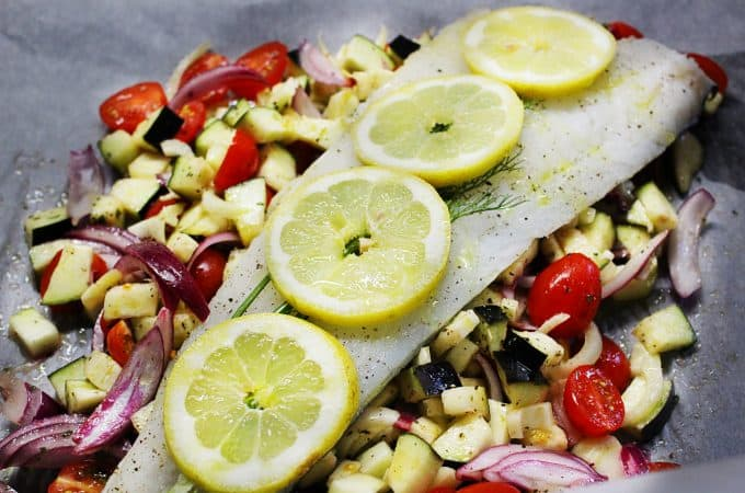 PARCHMENT BAKED COD WITH EGGPLANT AND CHERRY TOMATOES