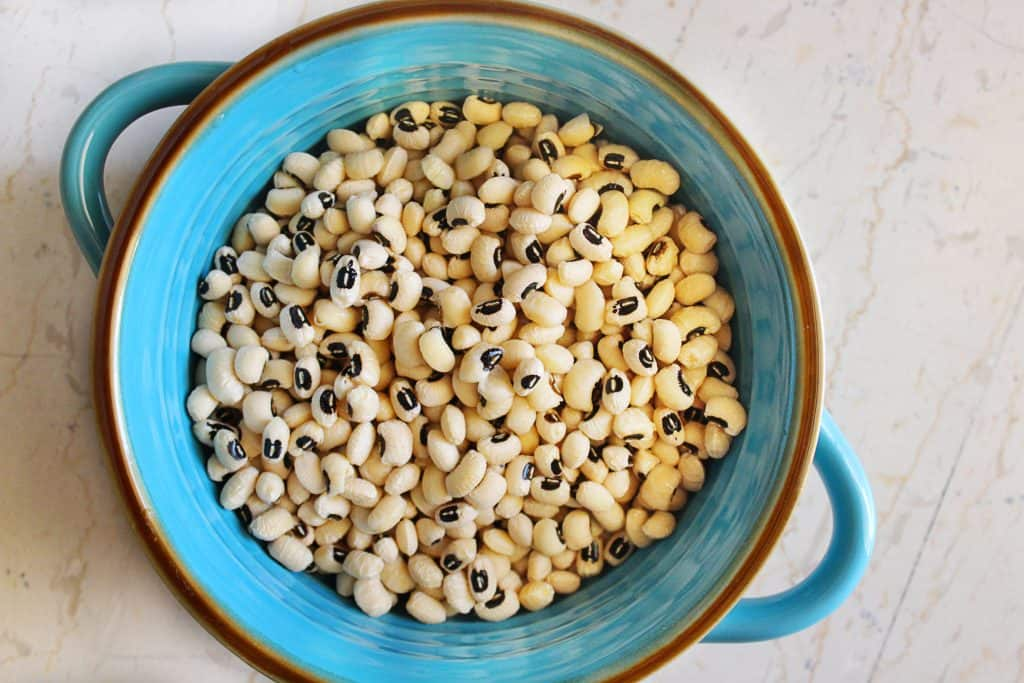 Pot with dried black eyed peas