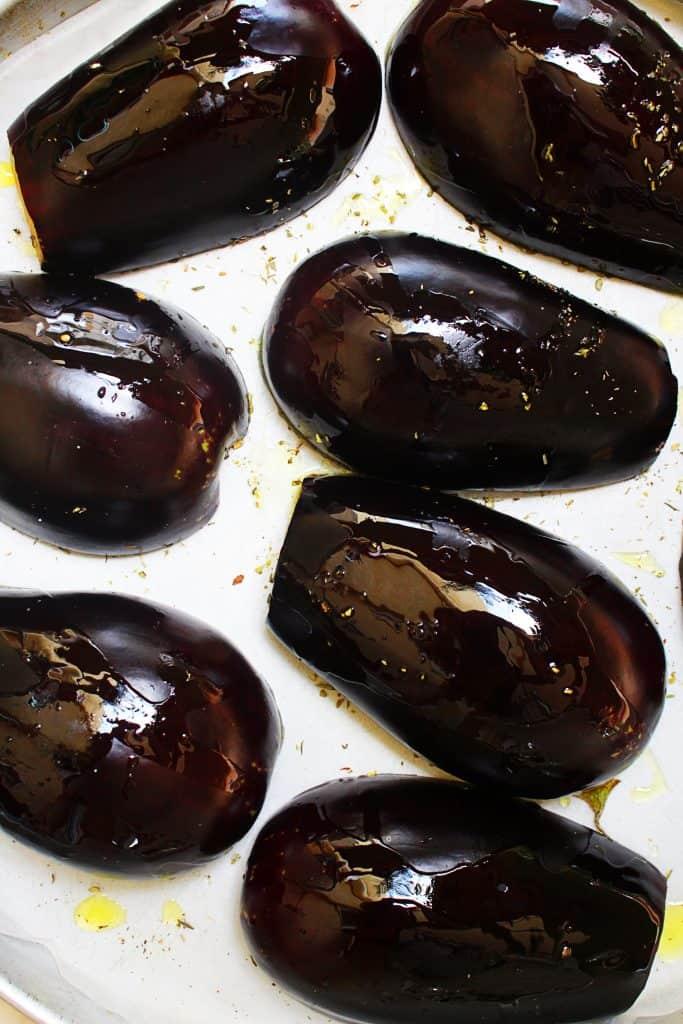 Greek Baked Stuffed Eggplant papoutsakia 2 www.30daysofgreekfood.com #bakedeggplant #stuffedeggplant