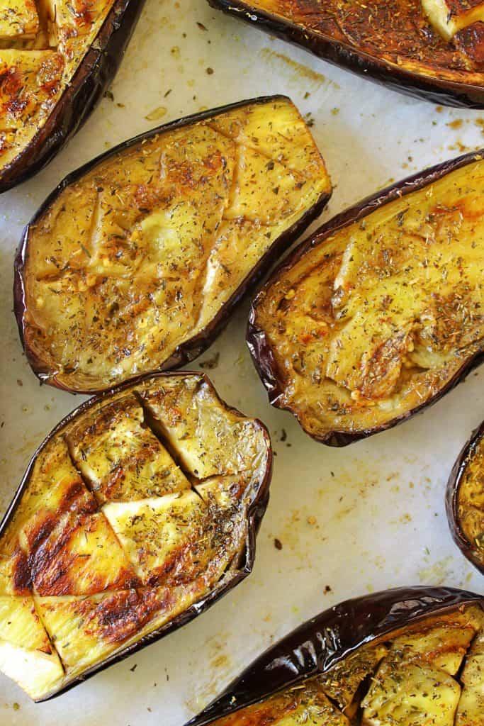Greek Baked Stuffed Eggplant papoutsakia 3 www.30daysofgreekfood.com #bakedeggplant #stuffedeggplant