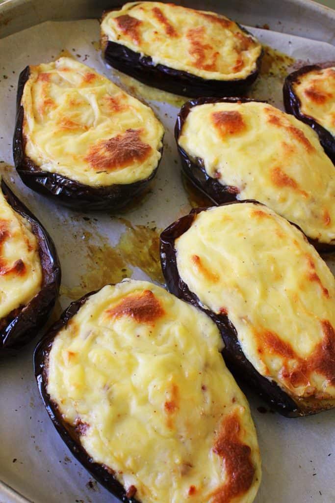 Greek Baked Stuffed Eggplant papoutsakia 8 www.30daysofgreekfood.com #bakedeggplant #stuffedeggplant
