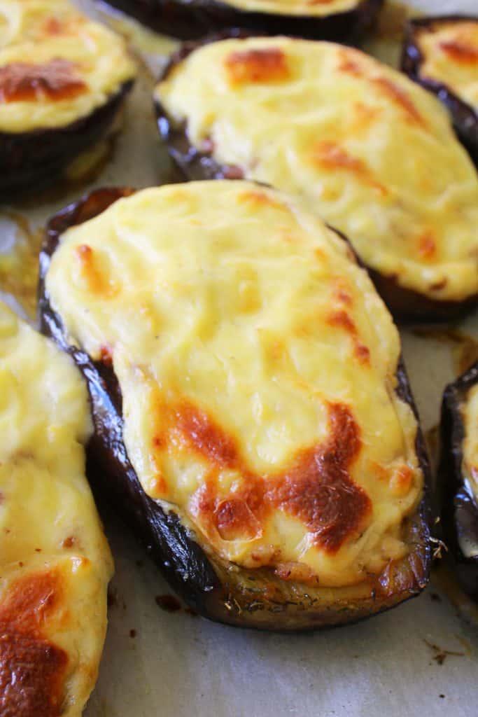 Greek Baked Stuffed Eggplant papoutsakia 7 www.30daysofgreekfood.com #bakedeggplant #stuffedeggplant