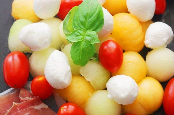 Caprese melon salad with basil vinaigrette