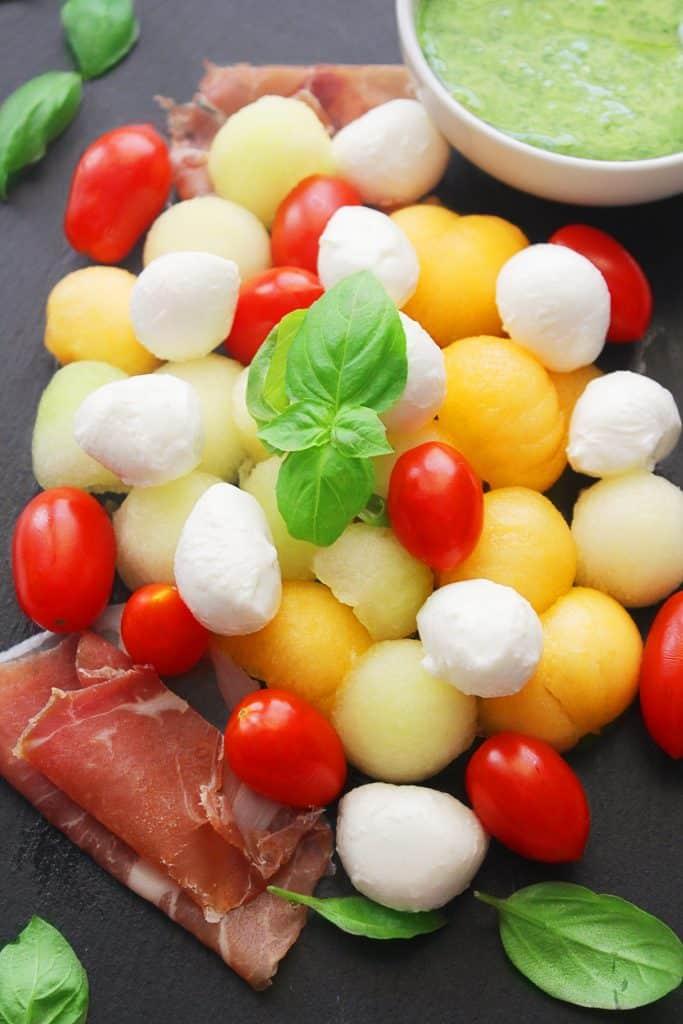 Melon Prosciutto & Caprese Salad
