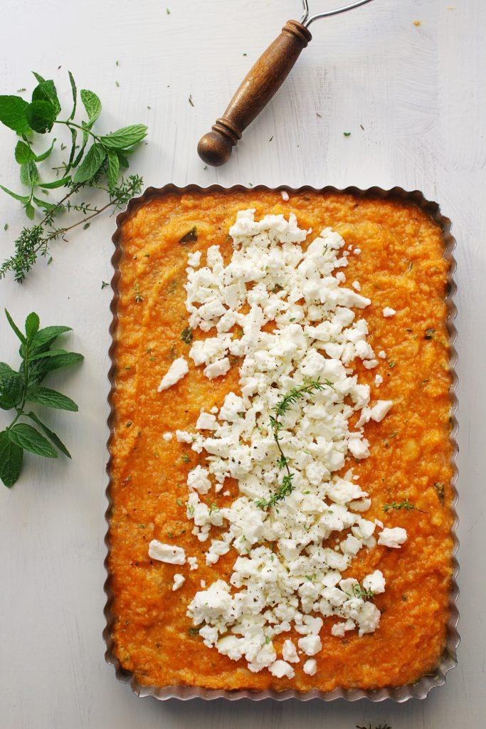savory pumpkin pie with feta cheese www.30daysofgreekfood.com