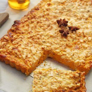 savory pumpkin pie with feta piece www.30daysofgreekfood.com