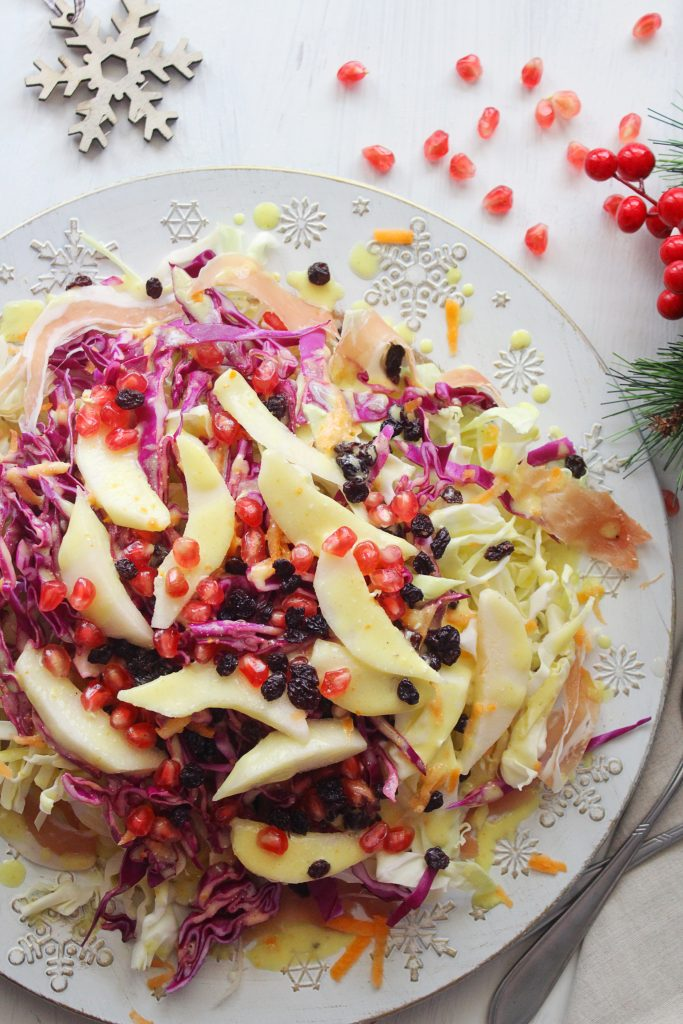 Cabbage Pear Mediterranean Salad Christmas