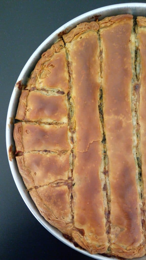 Traditional Greek Spinach Pie baked