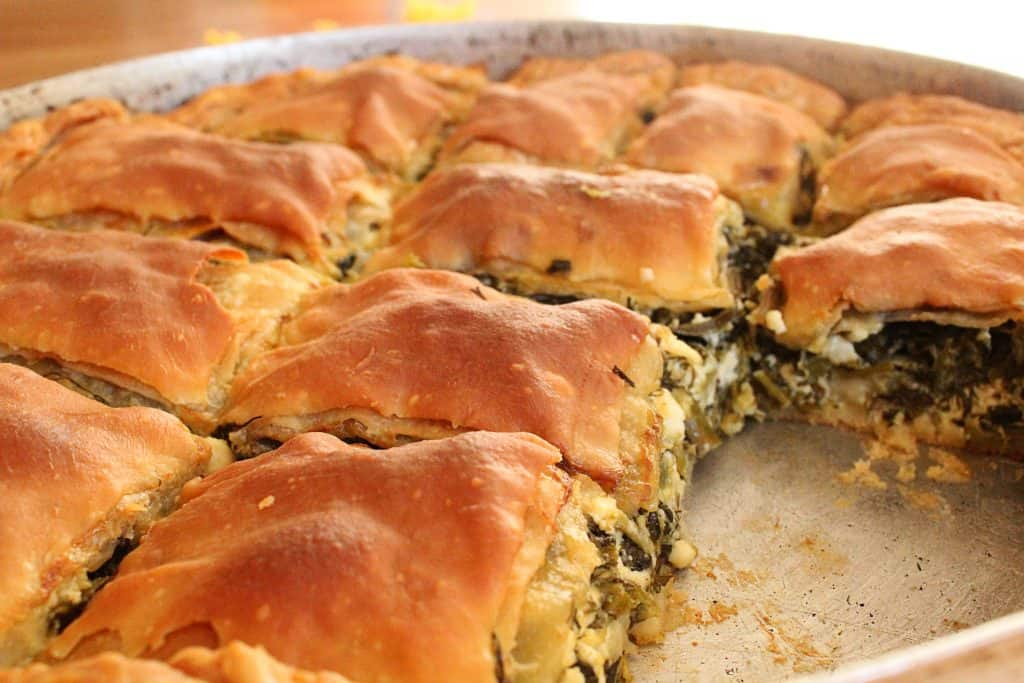 Traditional Greek Spinach Pie baking pan