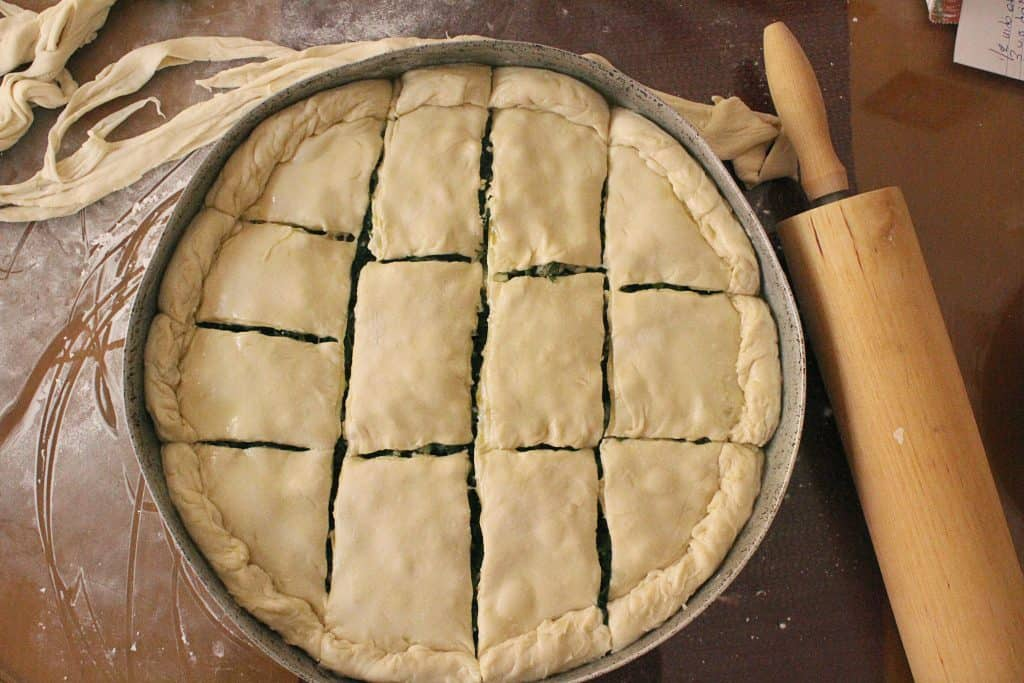 Traditional Greek Spinach Pie scored