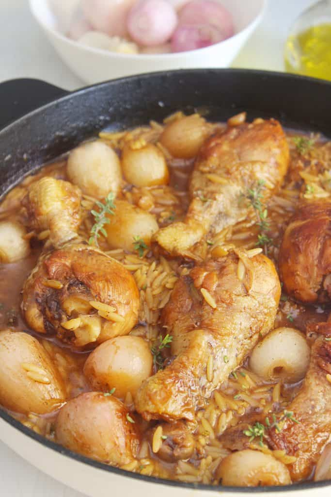 One Pot Chicken Drumsticks with Shallots and Orzo