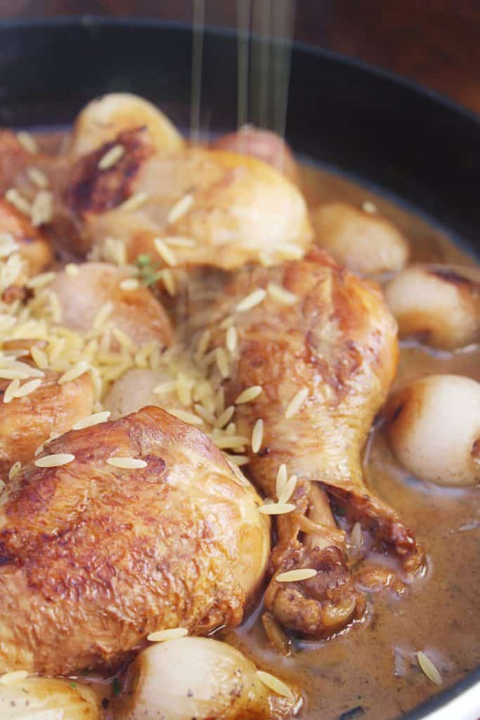 One Pot Chicken Drumsticks with Shallots and Orzo orzo