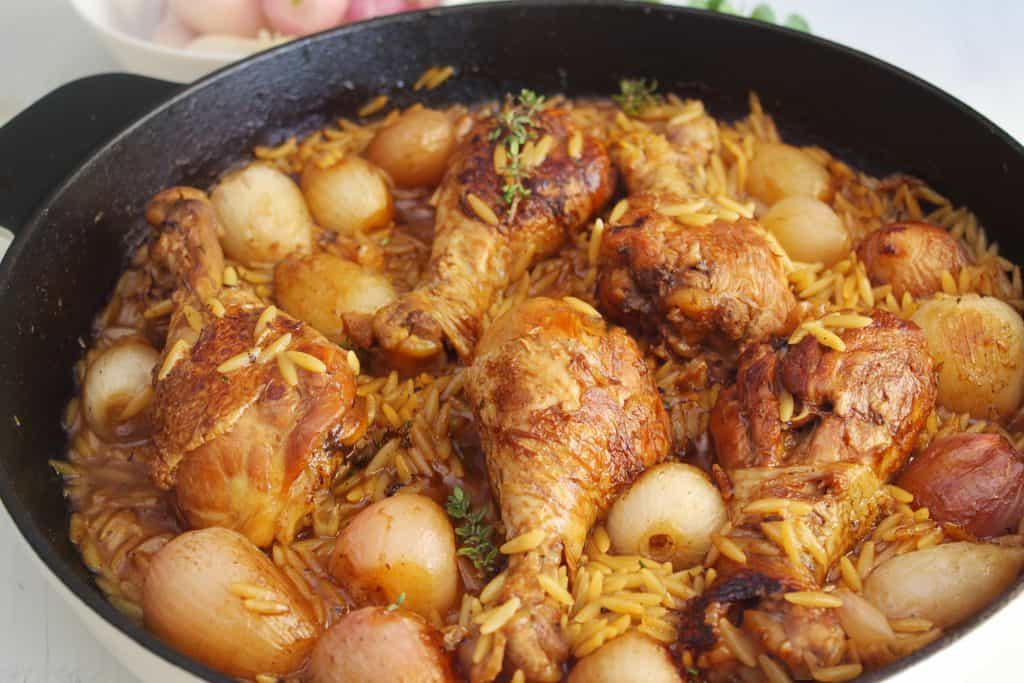 One Pot Chicken Drumsticks with Shallots and Orzo main