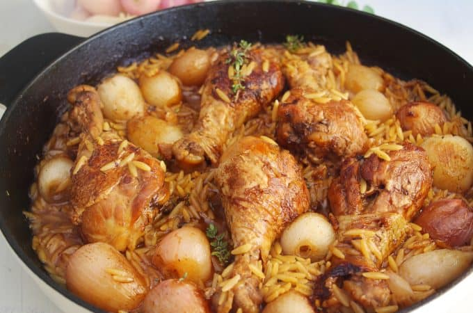 ONE-POT CHICKEN DRUMSTICKS WITH BABY SHALLOTS AND ORZO