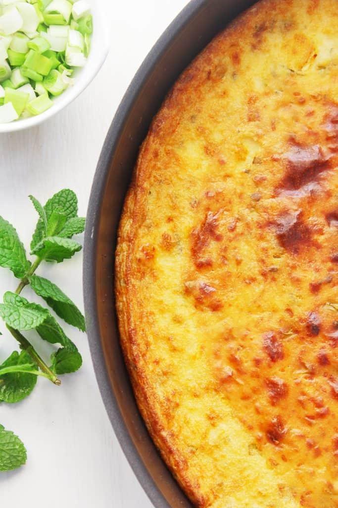 Mediterrannean Flat Flour Pie in the baking pan