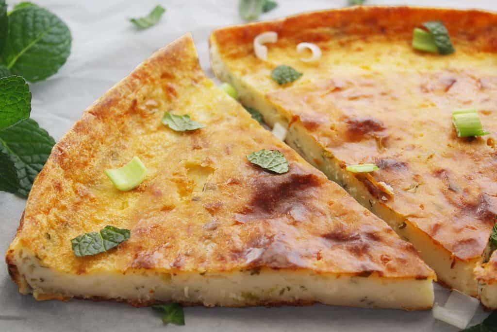 Mediterrannean Greek Flat Flour Pie close up