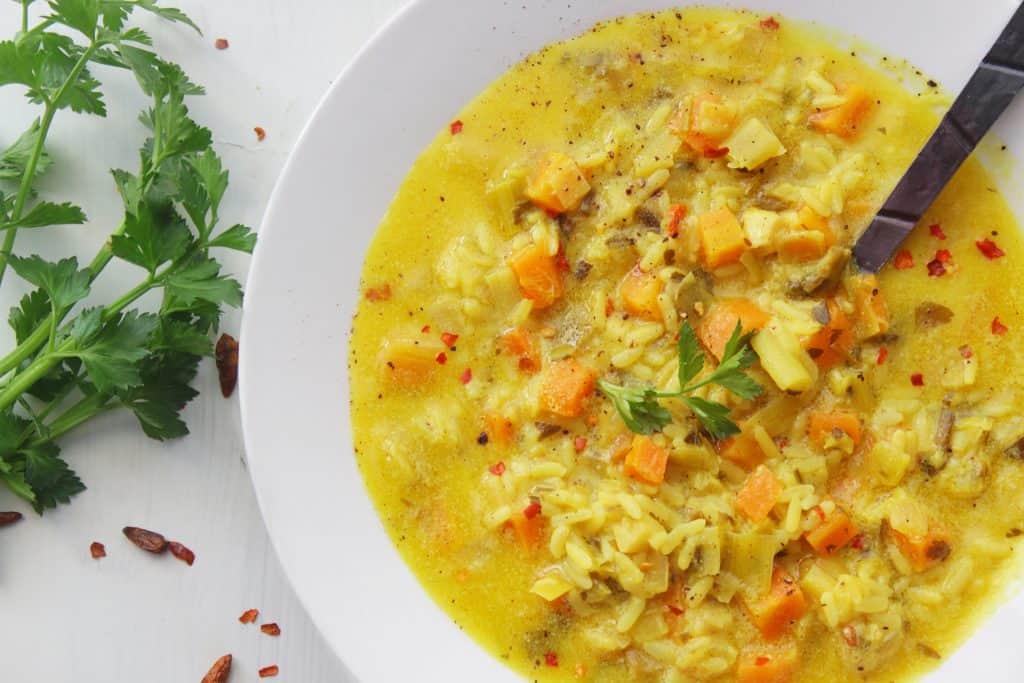 Mediterranean Rice Stew one palte close