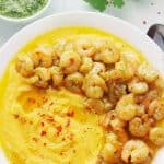 Mediterranean Pan Seared Shrimp with Split Pea Puree and Parsley Pesto