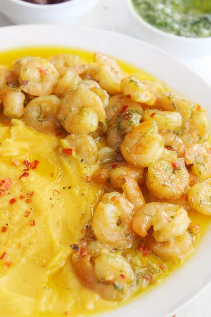 Mediterranean Pan Seared Shrimp with Split Pea Puree and Parsley Pesto