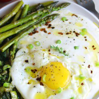 Whipped feta with asparagus eggs