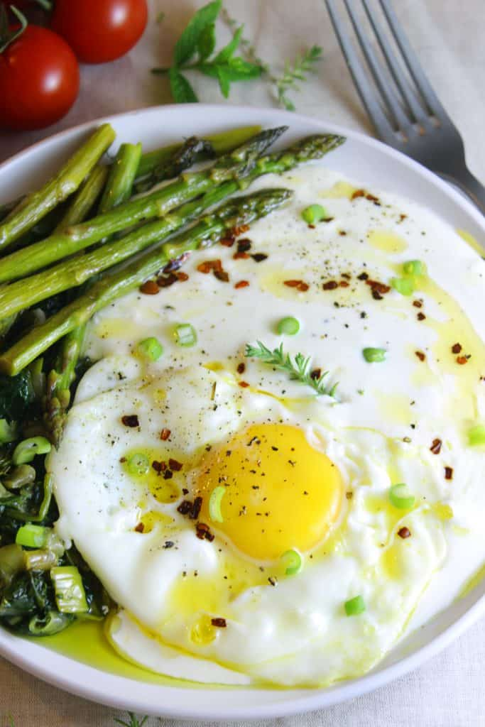 Whipped feta with asparagus eggs