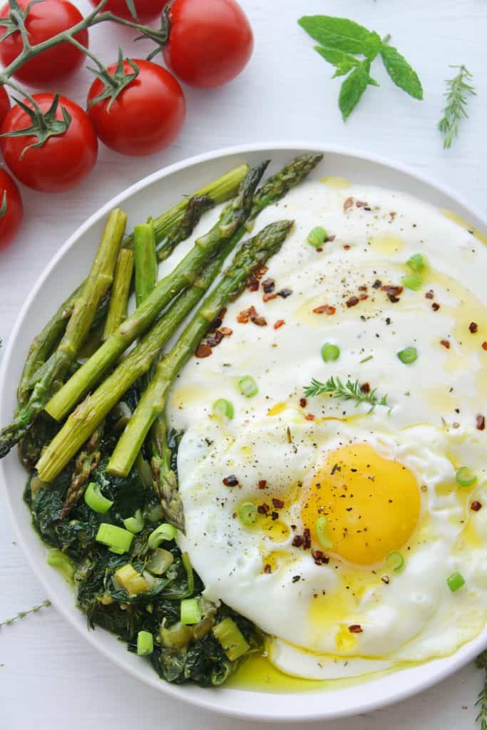 Whipped feta with asparagus eggs skillet