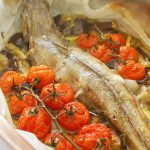 Parchement baked cod with eggplant and tomatoes