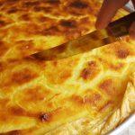 Greek milk pie ready to cut