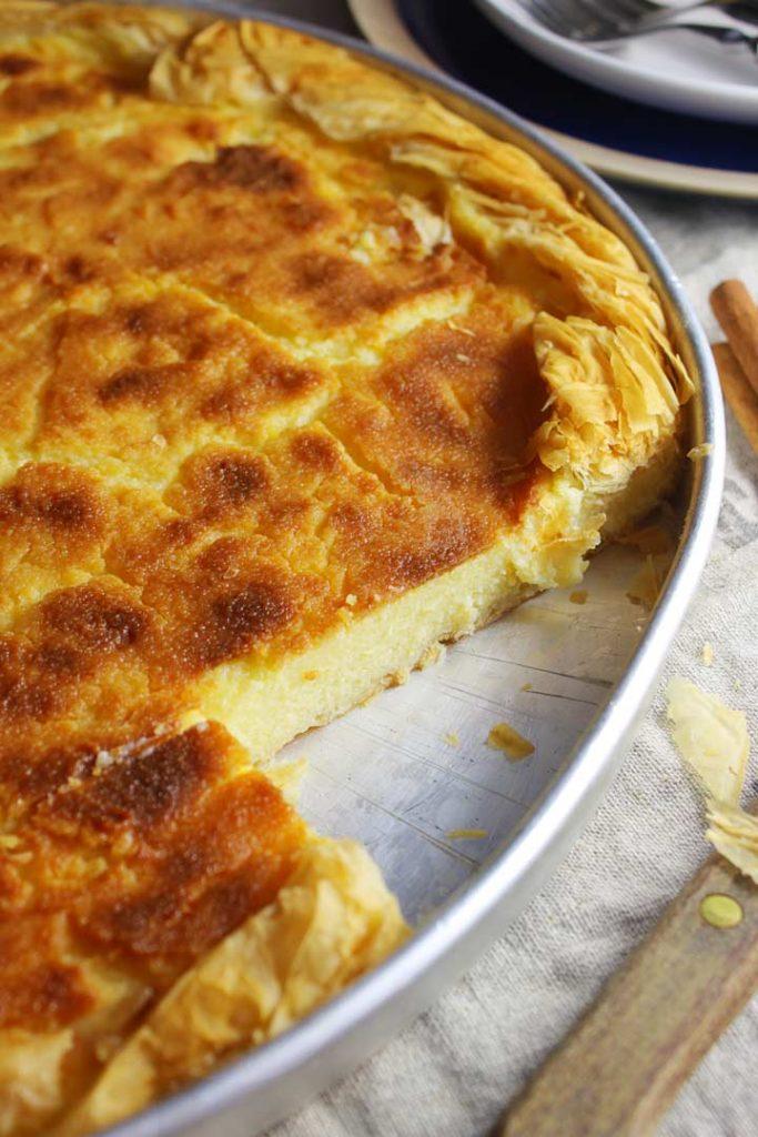 Milk pie on a baking sheet