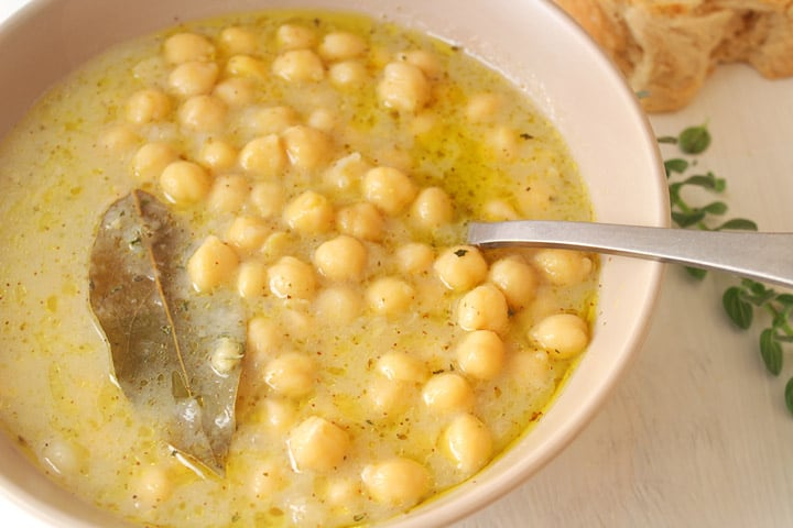 Greek chickpea soup with homemade whole wheat bread