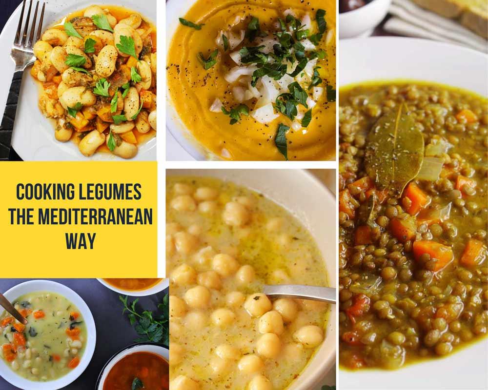 collage with mediterranean legume dishes