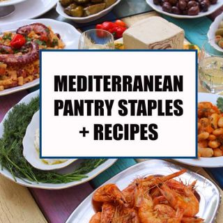 Mediterranean table with food