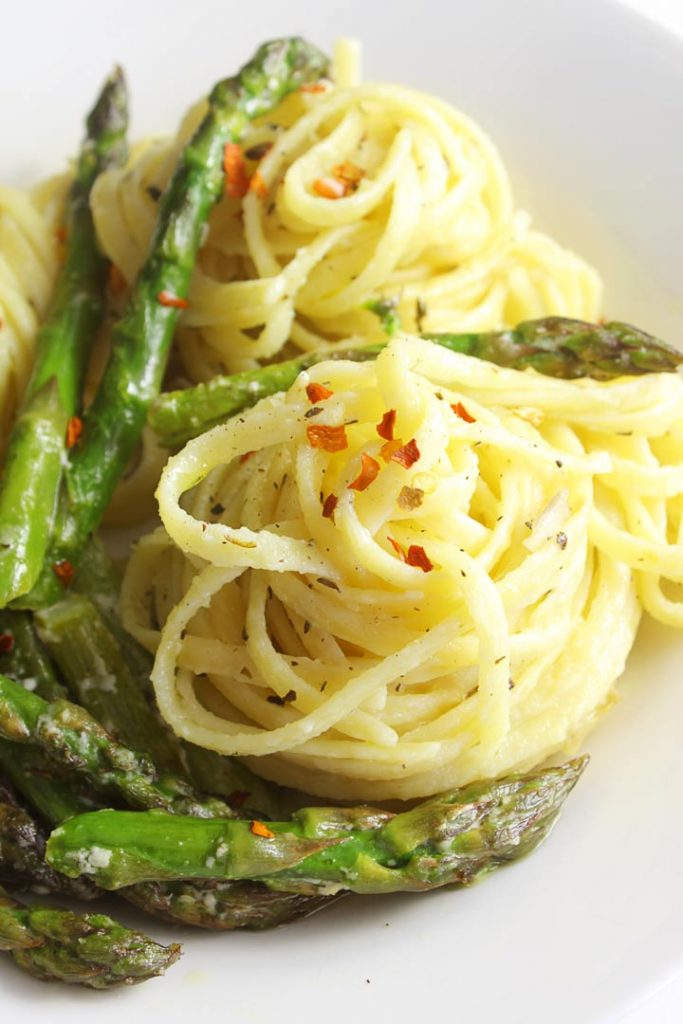 Asparagus with pasta on a plate