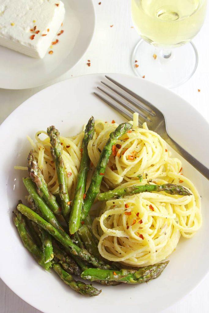 Asparagus pasta on a plate
