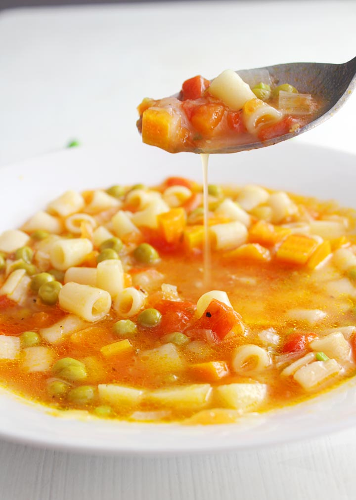 A spoonful of italian minestrone soup