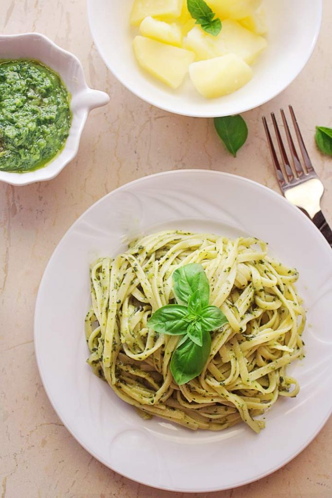 Basil pesto pasta in a plate