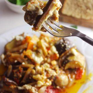 Greek briam on a fork