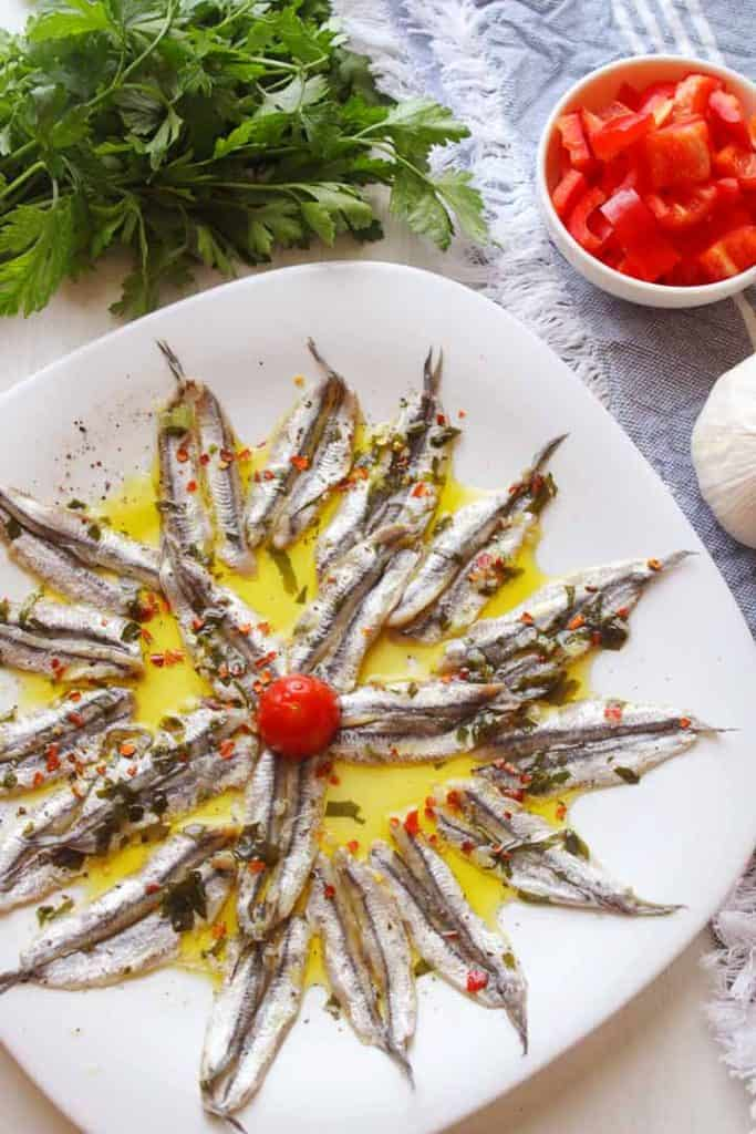 Marinated fresh anchovies in a plate