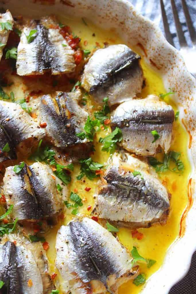 Baking dish with sardines
