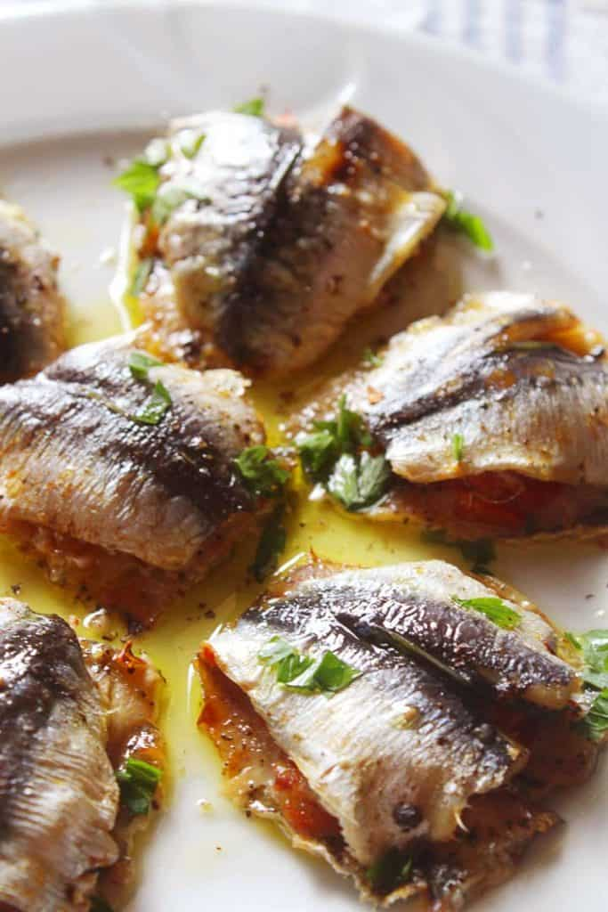 Greek Stuffed Sardines on a plate