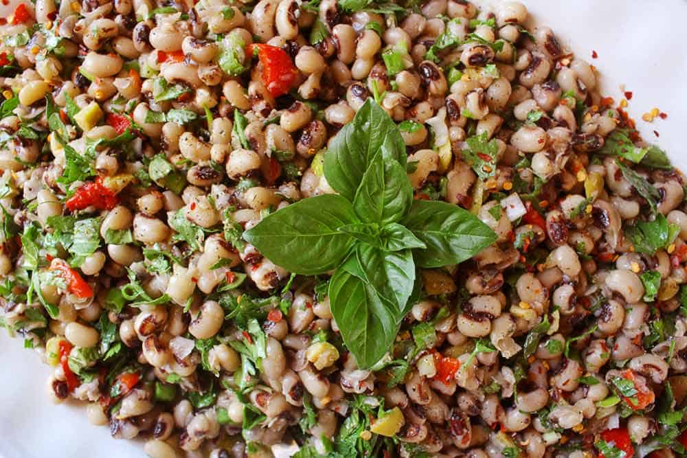 Black eyed pea salad in a white platter