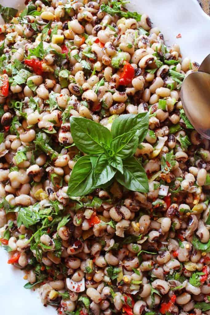 Platter with a Mediterranean black-eyed pea salad