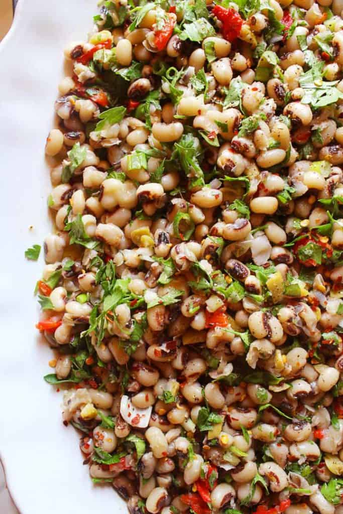 Mediterranean salad in a white platter